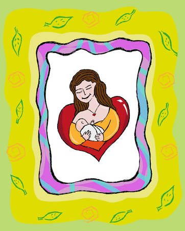 woman drinking milk: Mother Breastfeeding Hand Drawn Concept  Illustration