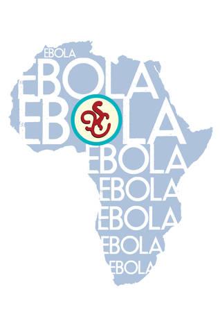 アフリカ地図ベクトルでエボラ出血熱ウイルス