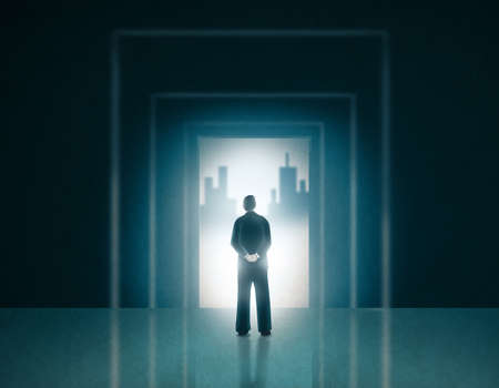 tunnel vision: Man in Business Suit Standing on a Door Entrance