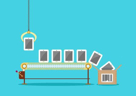 Productielijn van touchscreen tablet telefoons Pakket Box met UPC Stock Illustratie