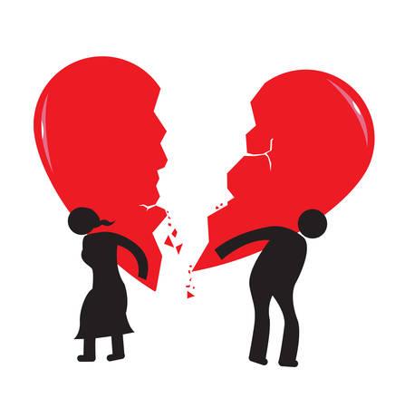 Scheidung Heartache Konzept Broken Heart von Stick Mann und Frau durchgeführt Isoliert auf weiß Vektor