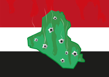 sectarian: Iraq Map and colors with Bullet Holes  Militant and Civil War Crisis  Illustration