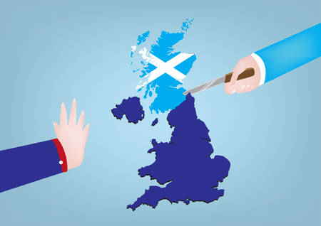 Scotland Independence from United Kingdom concept. One hand cuts map while other objects. Illustration