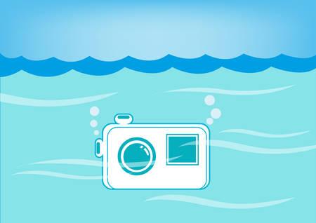 Fotocamera impermeabile sommerso subacquea. EPS10 Vector e jpg.