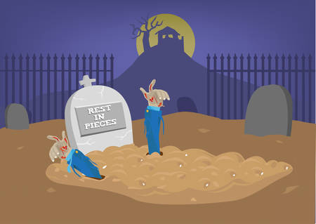 reanimation: The dead becomes alive again. Funny and scary Halloween concept