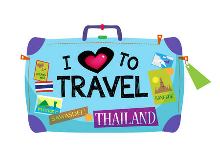 Baggage with sticker about Thailand and text I Love To Travel Çizim