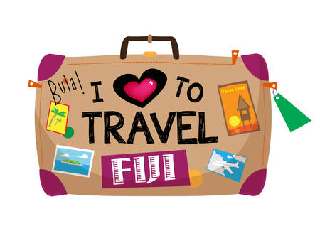 Luggage with Fiji stickers and I Love to Travel text Illustration