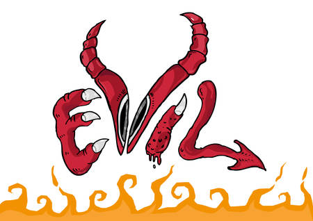 Evil Drawing Text Conceptual Symbol with Hellfire Vector