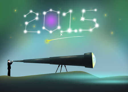 2015 New Year constellation and a Man Uses a large telescope