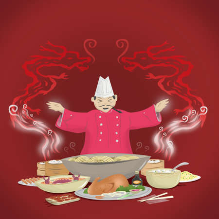fried rice: Chinese Cuisine and Chef with Dragon Smoke.