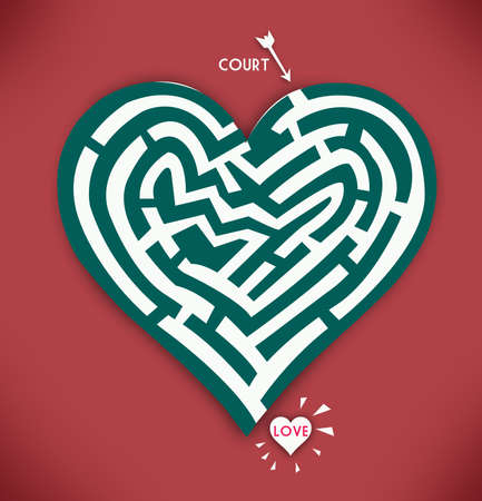 Heart Maze. Valentines Day and Romance in Red