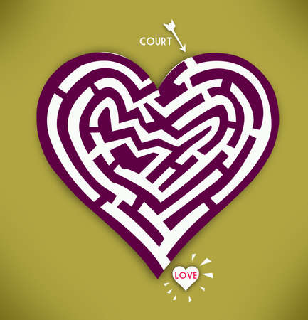 courtship: Heart Maze in Gold Background. Love and courtship concept Stock Photo