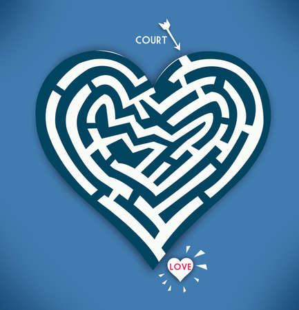 Heart Maze. Valentine Day and Courtship Concept in Blue Background. Stock Photo