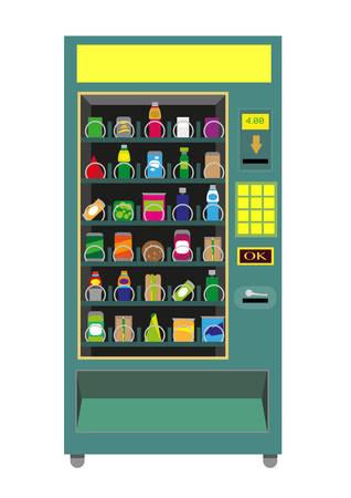 distribution automatique: Vecteur vert distributeur de la machine isol� sur blanc. Illustration