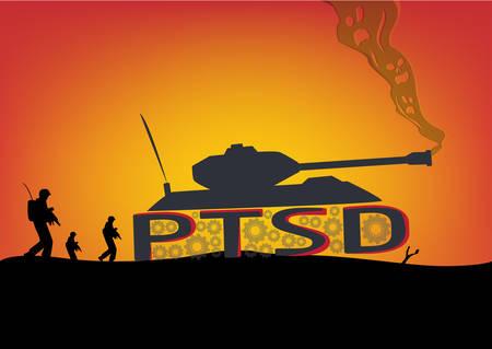 PTSD의 개념입니다. 탱크와 군인과 전투 장면 일러스트