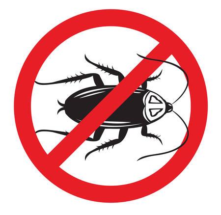 해충 방제 기호 또는 더 이상 바퀴벌레 기호 일러스트