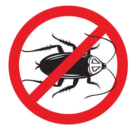 roach: Pest Control sign or No More Cockroaches symbol