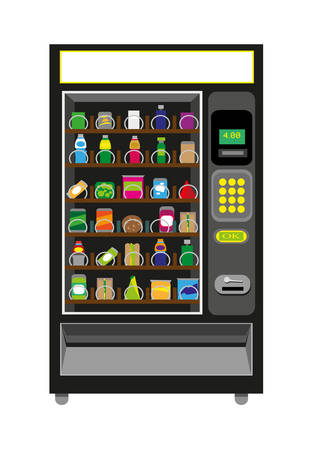 food distribution: Vending Machine Illustration with food and beverages in Black color