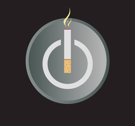 e cigarette: Electronic Cigarette Power Button Vector Illustration