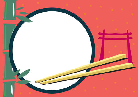 Japanese Themed Frame for Food and Travel Concepts Vector