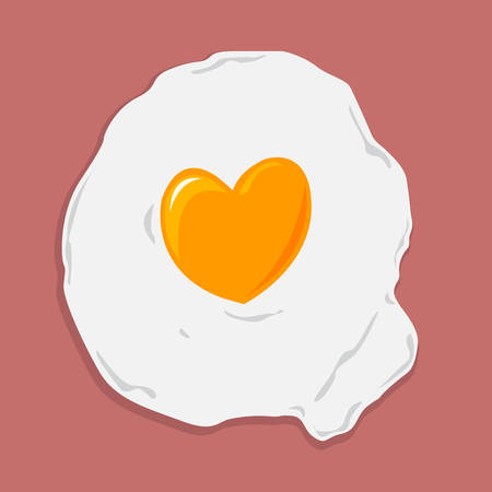 hearty: Fried Egg with Heart Shape for Healthcare concept. Illustration
