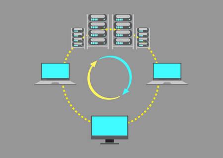 서버 팜 또는 데이터 센터 개념 일러스트