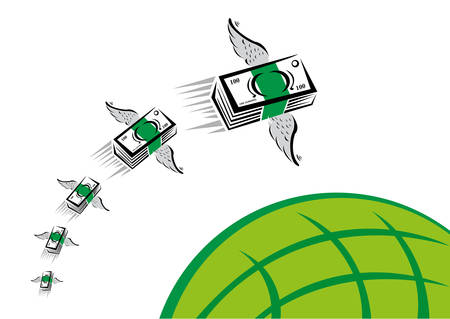 e money: Set of Colorful Cash with wings swiftly fly over a blue globe
