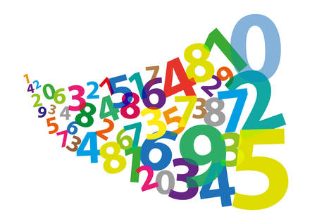 arabic numerals: Stylized Arabic Numerals as if Blown Away Illustration