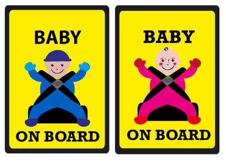 Baby on Board Car Safety Signs. Boy and Girl Versions. Illustration