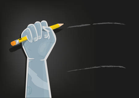 social awareness symbol: Fist on Air with Pencil with empty space on black Illustration