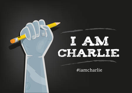 tribute: I Am Charlie Slogan in English with elements on Black Background