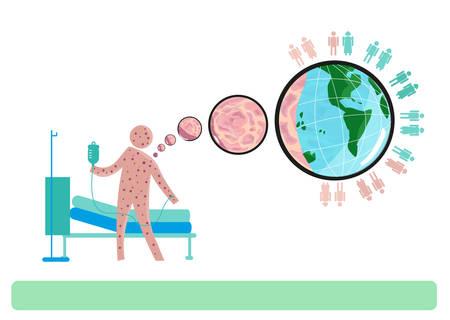 personne seule: Maladie a�roport�e �closion d'une personne avec des �ruptions cutan�es � d'autres � travers le monde. Illustration