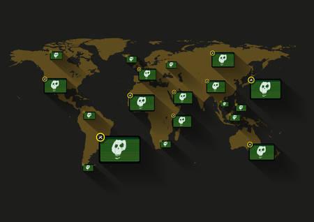 공포의 확산, 폭력, 전쟁 선전, 소셜 미디어에 대한 서버 가동 중단과 같은 많은 것들을 의미 할 수있는 전세계의 정적 모니터에 표시되는 평면 두개골