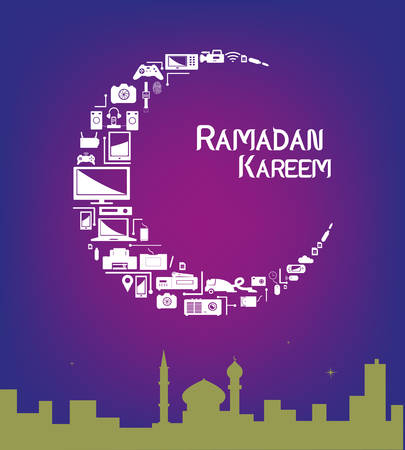 ramadan: Ramadan Kareem Greetings. Crescent Moon made of Electronic Products Illustration
