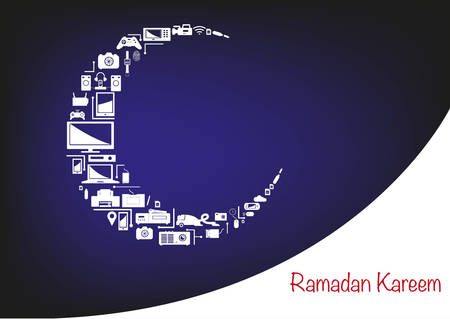 Ramadan Crescent Moon made of Electronic Products