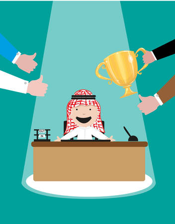 ideal: Best Employee or Employee of the Month for an Arab Company. Arab Cartoon smiles for the awards and accolades he received. Editable EPS10 vector and jpg illustration.