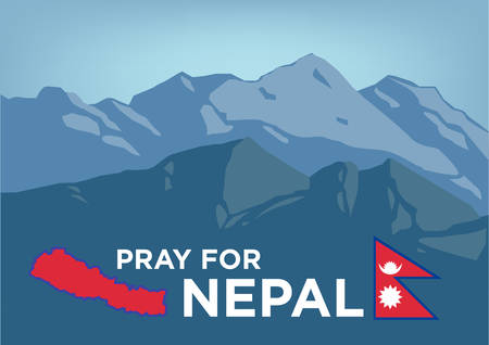 Pray for Nepal. Earthquake Crisis 2015 concept showing Mt Everest with Nepalese map and flag.