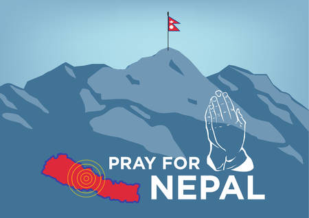 Pray for Nepal. Earthquake Crisis Concept showing Mt Everest with hands praying, country map and Nepalese flag on the summit of Everest. Editable Clip Art Illustration