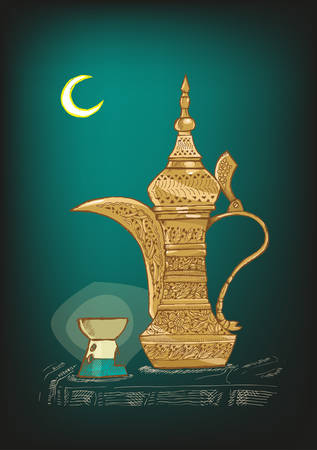 card holder: Hand Drawn Arabic Coffee Pot locally called Dallah used mostly in Gulf or Arab countries to serve khaleeji coffee. Shown are the Ramadan Crescent Moon and Candle light holder. Editable Vector EPS10.