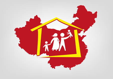 one child: China abolished its one-child policy concept. Editable Clip Art.