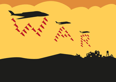 wojenne: Fighter Planes Drop Bombs in War Text formation. Editable Clip Art. Ilustracja