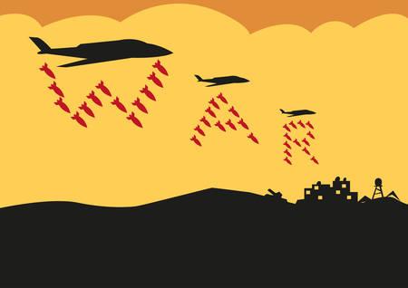 wojenne: Myśliwców zrzucać bomby w formacji Tekst wojny. Edytowalne Cliparty. Ilustracja