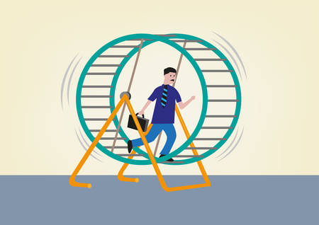 apprenticeship: Businessman Running on a Hamster Wheel. Editable Clip Art. Illustration
