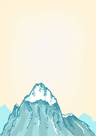 snowcapped landscape: Hand drawn style of a Freezing Mountain top. Editable Clip art. Illustration