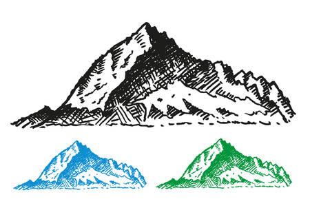 ranges: Mountain Ranges Hand drawn style. Isolated on white background Illustration