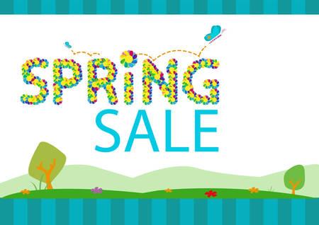 봄 시즌 판매 시즌 개념 템플릿입니다. 편집 가능한 클립 아트. 일러스트