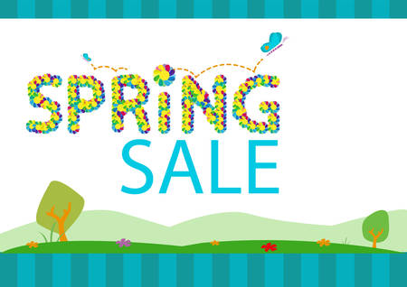 vernal: Springtime Sale Season Concept Template. Editable Clip Art. Illustration