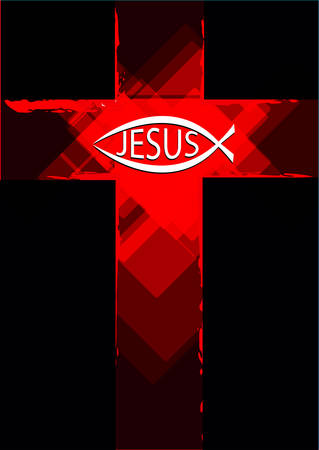 Grunge Red Cross with a Ichthys Fish symbol and Jesus Text. Editable Clip Art.