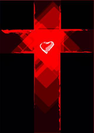 cruz de jesus: Cruz del grunge con un corazón blanco en el centro Vectores