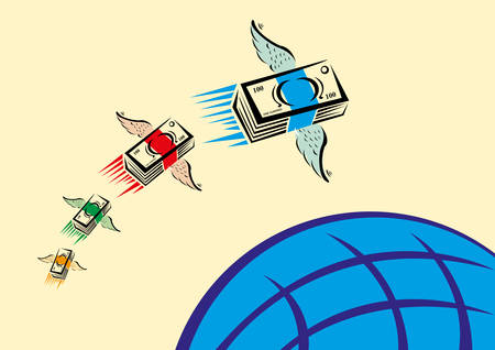 remittance: Set of Colorful Cash with wings swiftly fly over a blue globe